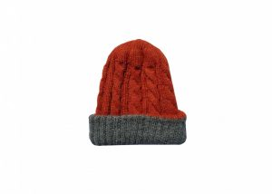 Orange and grey kids hat